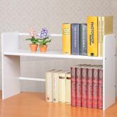 《Homelike》和風伸縮式桌上書架(純白色)