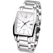 《Calvin Klein》魅力酒桶品味風典藏腕錶(銀白)