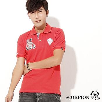 SCORPION 耳機鑽石造型徽章POLO衫(紅L)