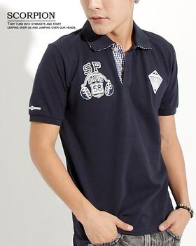 SCORPION 耳機鑽石造型徽章POLO衫(深藍L)