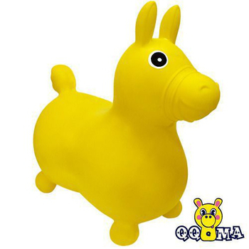 QQMa 快樂寶貝素雅充氣跳跳馬(黃)