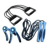三合一肌肉猛男健身組(C)-可調式拉力器+跳繩+握力器
