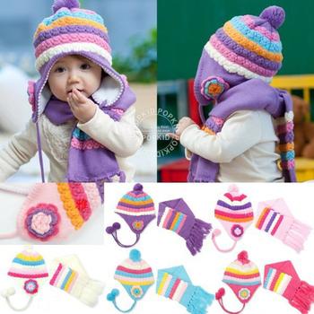 ((七彩花朵款))保暖帽+圍巾二件組(粉色)