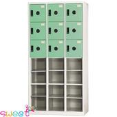《SWEET》DF多用途置物櫃~12格開放9小門(綠)