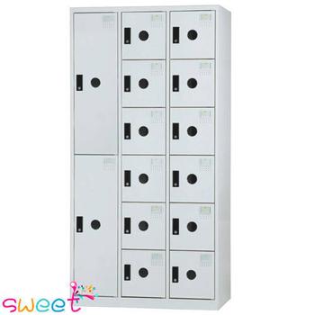 《SWEET》DF多用途置物櫃~2大門12小門(灰)