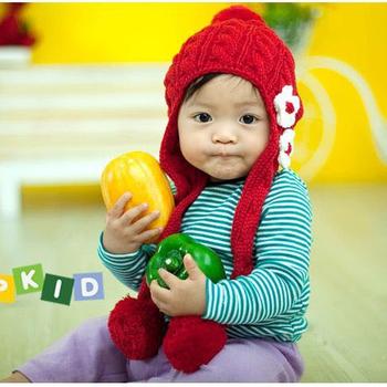 可愛《花朵球球款》保暖圍巾帽