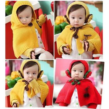 甜美((花朵針織款))圍巾帽+髮帶+手套三件組(紅色)