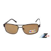 《Z-POLS》金屬時尚設計款頂級寶麗來偏光鏡片太陽眼鏡(褐色偏光款)
