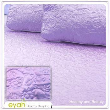 EYAH宜雅 絲鍛面立體花紋100%防水雙人保潔墊三件組(含枕墊*2)-浪漫紫
