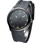 《Calvin Klein》Visible 酷黑運動風時尚腕錶-綠.時刻