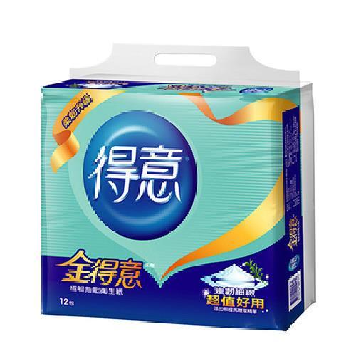《金得意》極韌連續抽取式花紋衛生紙(100抽*12包/串)