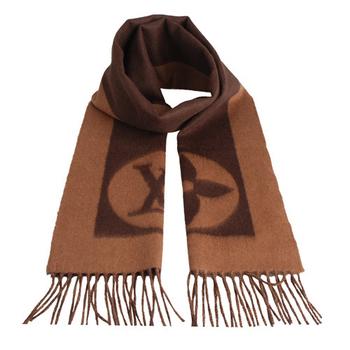 LV M72204 經典Cardiff系列LOGO造型雙色設計羊毛流蘇圍巾(咖啡)