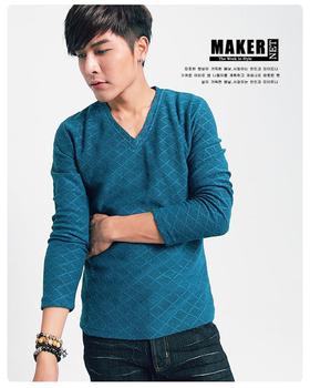 MAKER NET 菱格V領針織毛衣-共二色(藍F)