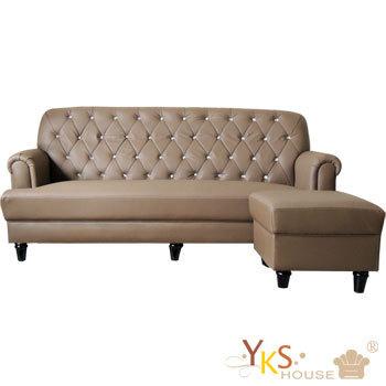 YKSHOUSE 小法式L型獨立筒皮沙發組(深咖啡色)