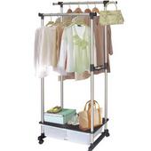 《收納家》雙層式掛衣架-附2個收納盒