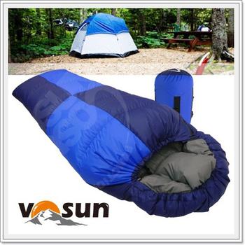 VOSUN (美國杜邦Tactel) 小百岳頂極水鳥羽絨睡袋600g .可左右合併.全開.信封型立體隔間.防潑抗撕裂(自助旅行 露營 登山)(藍)