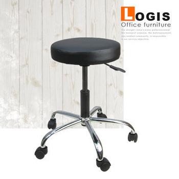 LOGIS 皮面氣壓升降吧台椅(黑色)