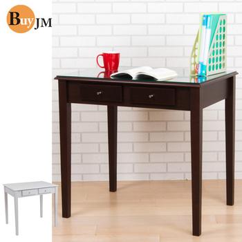 BuyJM 實木雙抽屜書桌電腦桌/工作桌(胡桃木)