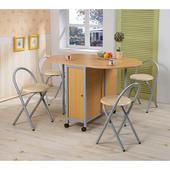 《C&B》和風折疊多用途蝴蝶桌椅組(一桌四椅)(橢圓形淺木紋)