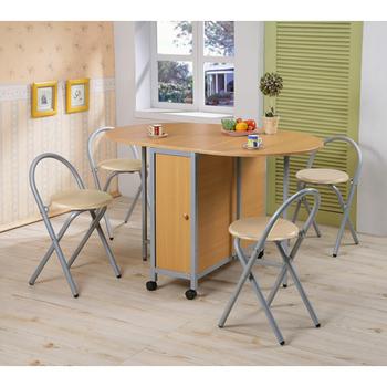 C&B 和風折疊多用途蝴蝶桌椅組(一桌四椅)(橢圓形淺木紋)