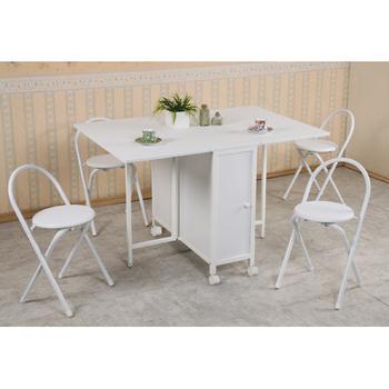 C&B 和風折疊多用途蝴蝶桌椅組(一桌四椅)(方形白色)