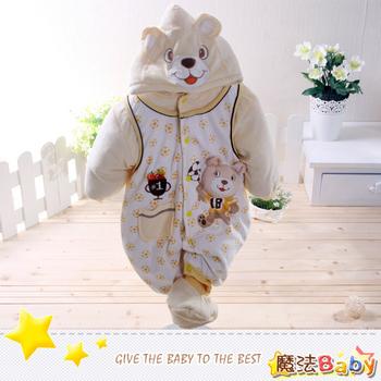 魔法Baby 加厚鋪棉寶寶足球熊連身衣/包屁衣~男女童裝~k24715(90)