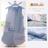 《魔法Baby》柔舒雪絨加厚鋪棉寶寶防踢睡袋(米白/水藍)~嬰幼兒用品~k23152(ONE SIZE)