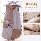 《魔法Baby》柔舒雪絨加厚鋪棉寶寶防踢睡袋(駝)~嬰幼兒用品~k23145(ONE SIZE)