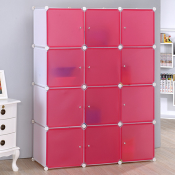 《空間美學》12門收納櫃/置物櫃-多色可選(白體粉門)