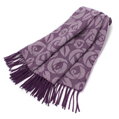 《YSL 聖羅蘭》玫瑰LOGO羊毛披肩(紫羅蘭)
