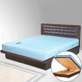 《Homelike》艾凡掀床組+獨立筒床墊-5尺雙人(胡桃木紋)