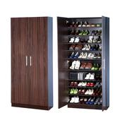 《BuyJM》經典鏡面加寬型高雙門鞋櫃(胡桃木色)