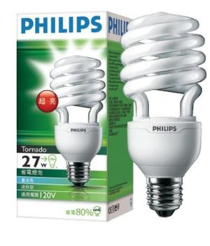 Philips 高功率 27W T3省電燈泡(白光)