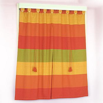 《布安於室》色塊純棉窗簾-紅橘