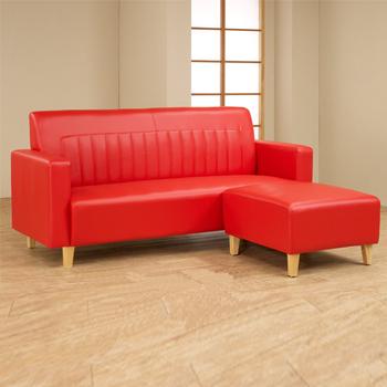 夢想家 L型透氣皮沙發(紅)
