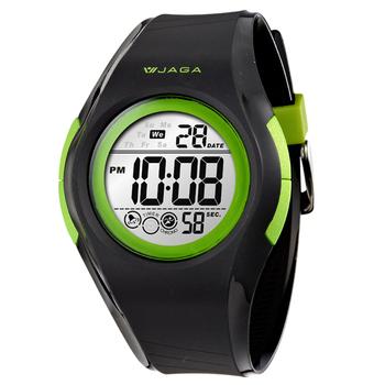 JAGA捷卡 M984多功能防水運動電子錶(黑綠)