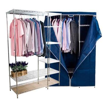 BuyJM 實用家鐵管大衣櫥附布套-寬120公分(藍色)