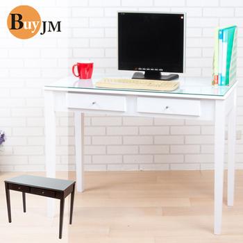BuyJM 古典實木腳雙抽強化玻璃書桌-寬100公分(白色)