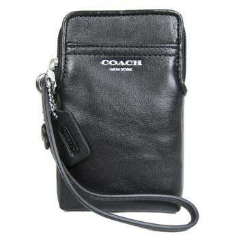 COACH LEGACY 全皮卡夾手機包(黑)