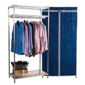 《BuyJM》樂家鐵管三層衣櫥附布套-寬90公分(藍色)