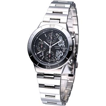 CITIZEN WICCA 美漾花系列三眼計時腕錶-黑 FA1006-50E