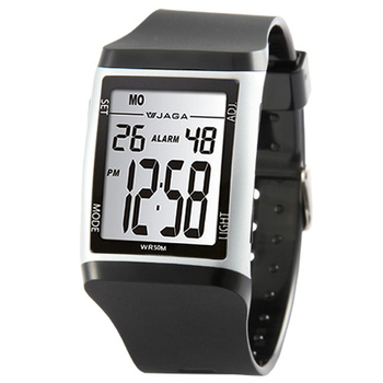 JAGA捷卡 M866多功能防水運動電子錶(黑銀)