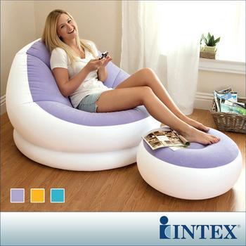★結帳現折★INTEX 馬卡龍懶人椅-單人充氣沙發椅附腳椅-三色隨機出貨