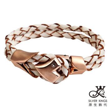 原生飾代SilverKings 初心-頂級白鋼工藝+個性皮繩手環-(女-全長18cm)