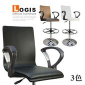 《LOGIS》曲木炫色扶手高腳皮革吧台椅(棕色)