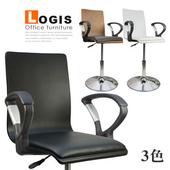 《LOGIS》摩登扶手曲木皮革低腳吧台椅(黑色)