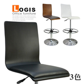 《LOGIS》炫感曲木高背高腳皮革吧台椅(黑色)