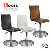 《LOGIS》摩登高背曲木皮革低腳吧台椅(黑色)