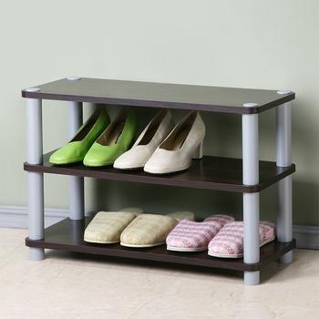 《Homelike》簡約三層開放式鞋架(胡桃色)