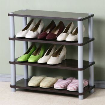 《Homelike》簡約四層開放式鞋架(胡桃色)